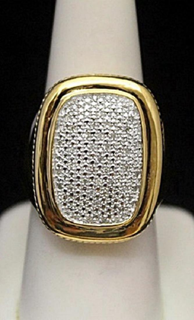 Beautiful 14kt over Silver Ring with Cluster Diamonds