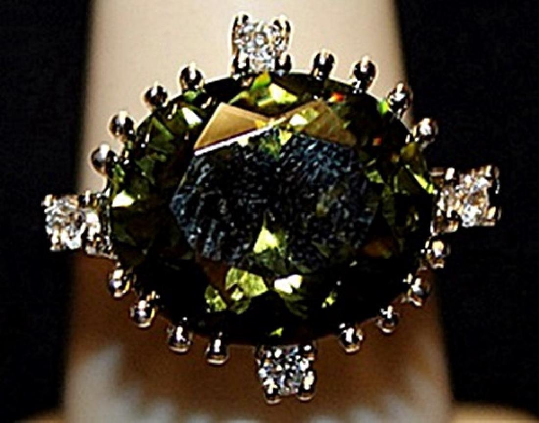 Fancy Green Peridot & White Sapphires SS Ring. (532L)