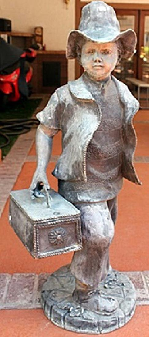 Boy with Lunchbox - Bronze Sculpture