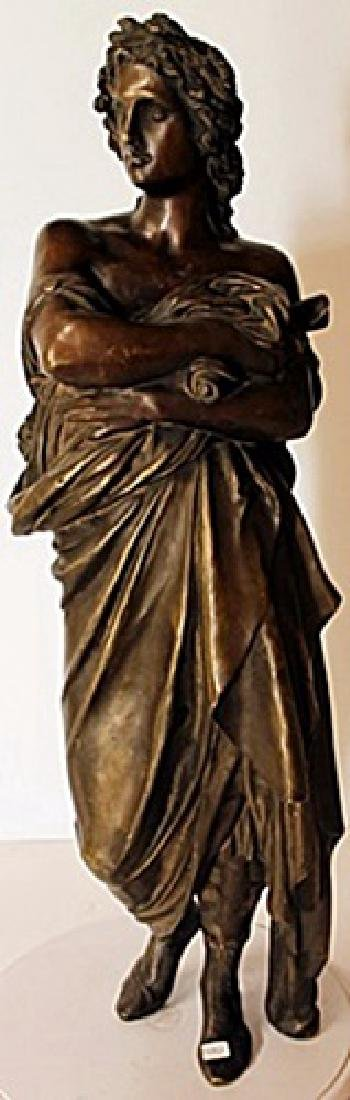 Unsigned, Bronze Sculpture - Man with Drapes