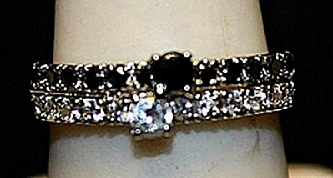 Beautiful Black Topaz & White Sapphires SS Ring. (271L)