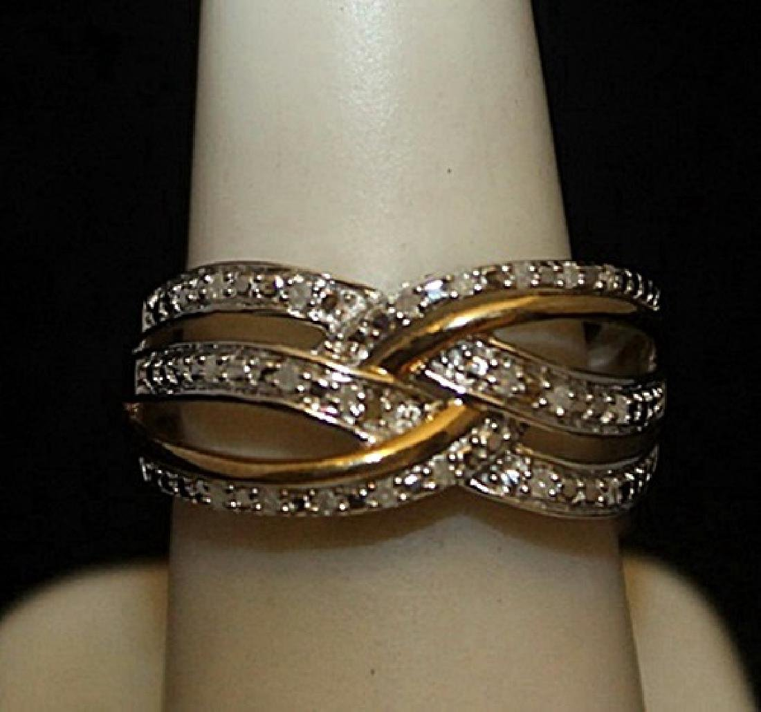 Lady's Beautiful 14kt over Silver Ring with Diamonds
