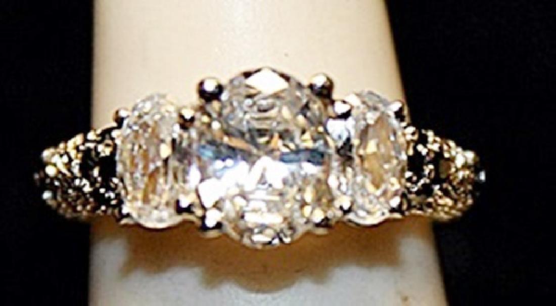 Fancy White Topaz Sterling Silver Ring. (773L)