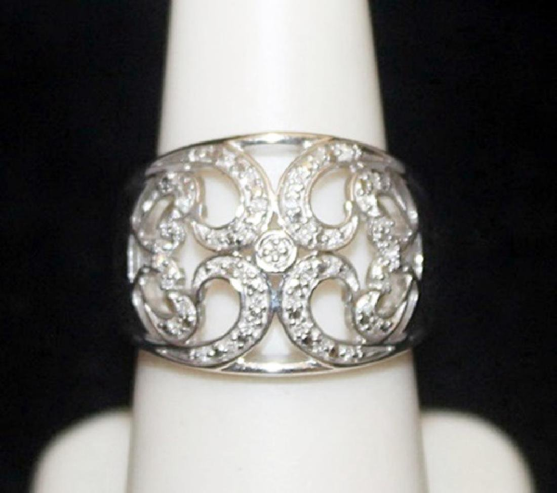 Fancy Silver Antique Style Ring with Diamonds (96I)