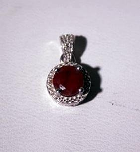 Exquisite Sterling Silver Pendant with Pigeon Blood