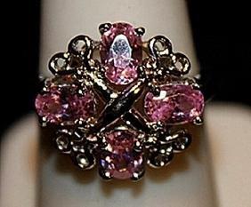 Fancy Pink Lab Sapphires & Black Diamonds SS Ring.