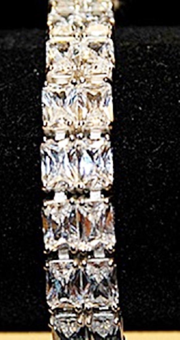 Fancy Russian Cubic Zirconia Sterling Silver Bracelet.