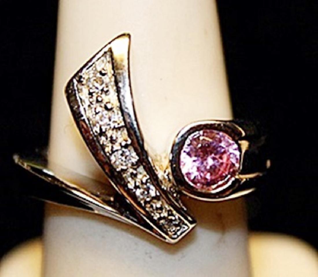 Gorgeous Pink Sapphire & White Topaz SS Ring. (722L)