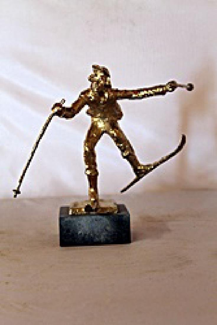 Christmas Skis  - Gold over Bronze Sculpture - after