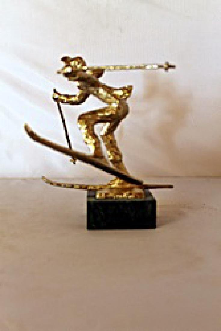 Christmas Skis  - Gold over Bronze Sculpture - after - 2