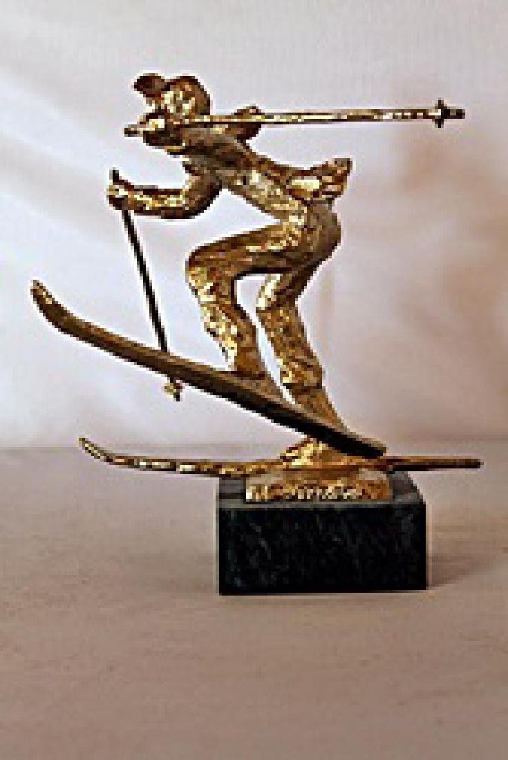 Christmas Skis  - Gold over Bronze Sculpture - after - 3