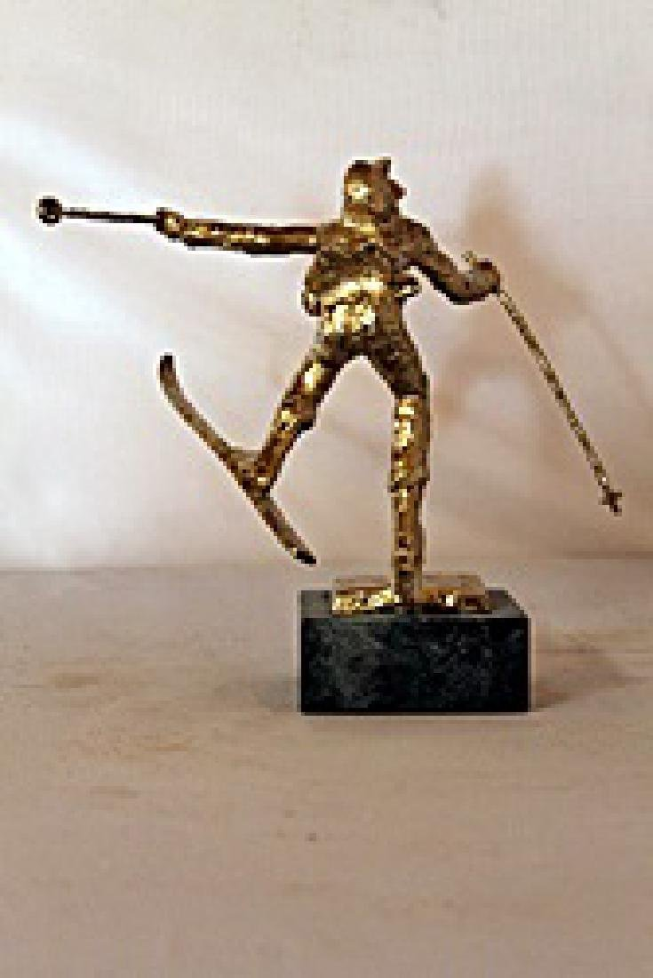 Christmas Skis  - Gold over Bronze Sculpture - after - 4