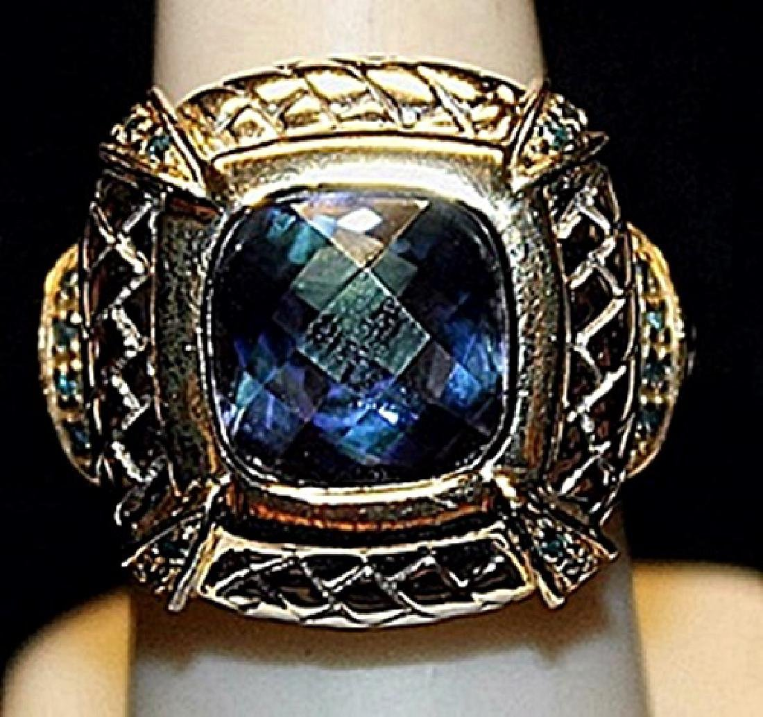Beautiful Lab Sapphire Sterling Silver Ring. (186L)
