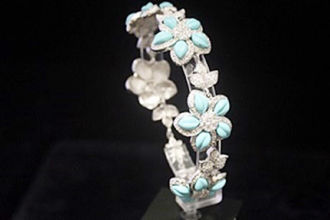 Stunning White Sapphire & Topaz Silver Bracelet