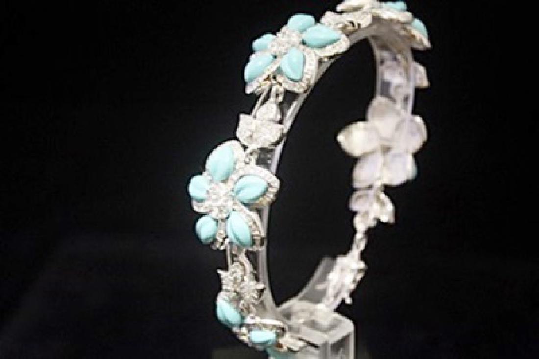 Stunning White Sapphire & Topaz Silver Bracelet - 3