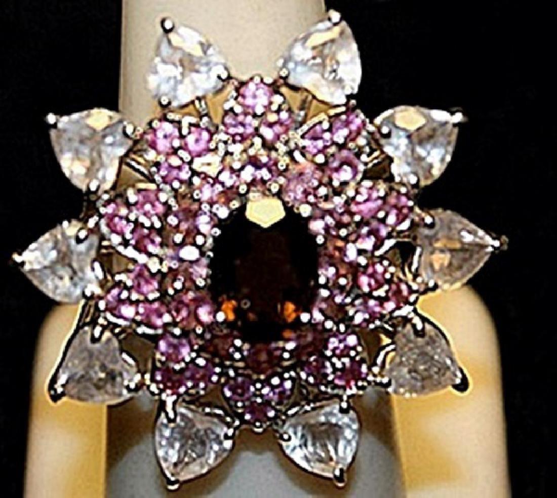 Beautiful Garnet, Pink Sapphires & White Topaz SS Ring.