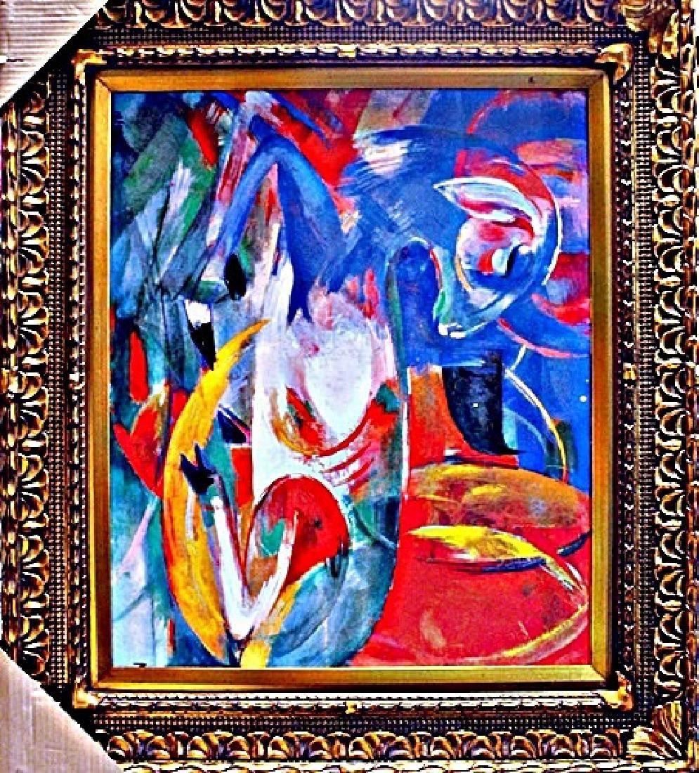 """Framed Giclee On Canvas """"Agneau Bleu"""" Franz Marc"""