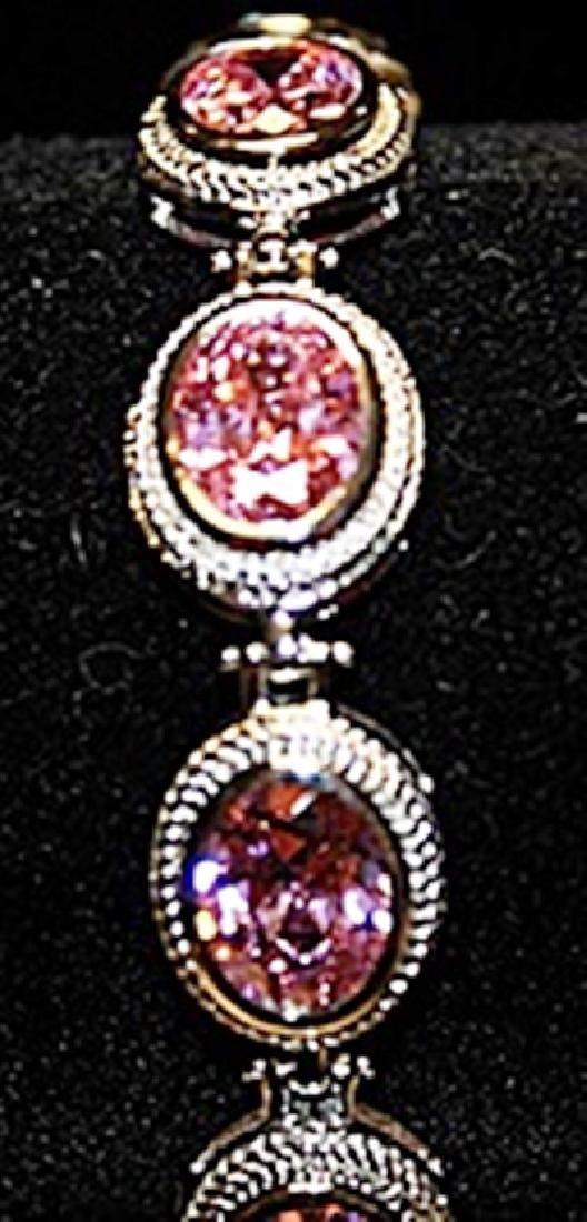 Gorgeous Pink Lab Sapphires SS Bracelet.