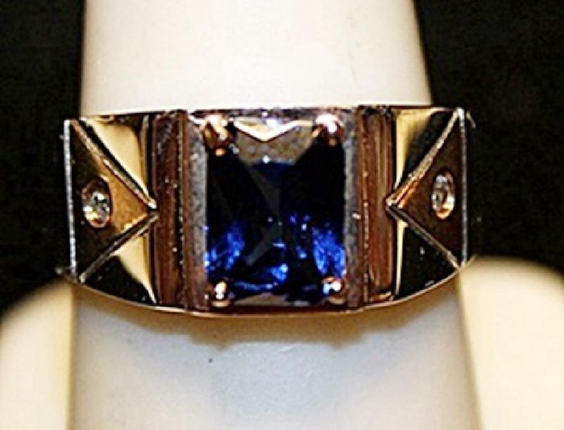Fancy Lab Amethyst with Diamonds SS Ring. (744L)