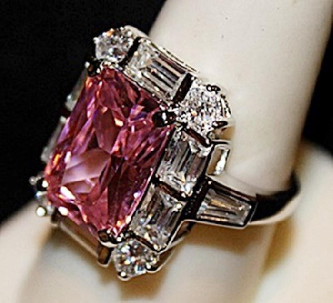 Gorgeous Pink Sapphire & White Topaz SS Ring. (564L) - 2
