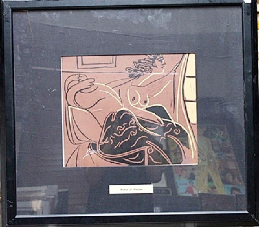 "Framed Linocut ""two waking women"" Pablo Picasso"