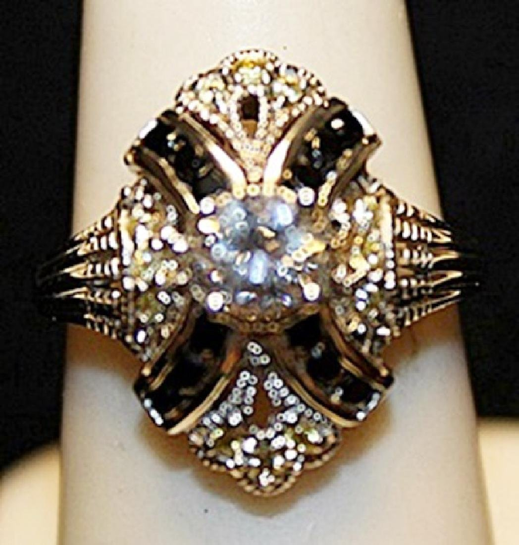 Gorgeous White Zirconia with Black Diamonds SS Ring.