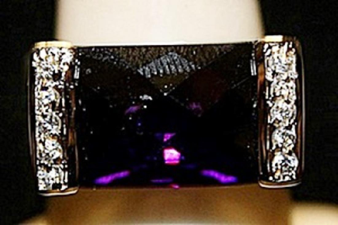Gorgeous Amethyst with Diamonds SS Ring. (266L)