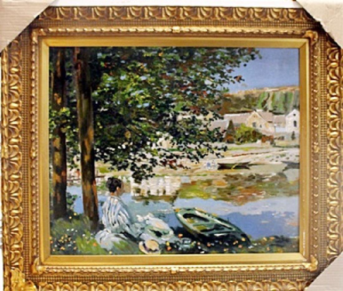 "Framed Giclee On Canvas ""The River"" Claude Monet"