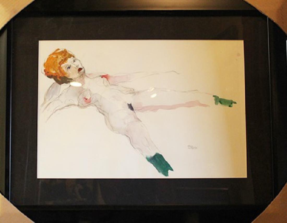 Framed Drawing - Egon Schiele