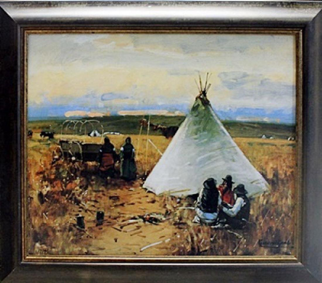 """Framed oil on canvas """"The Pow-Wow"""" - William Gilbert"""