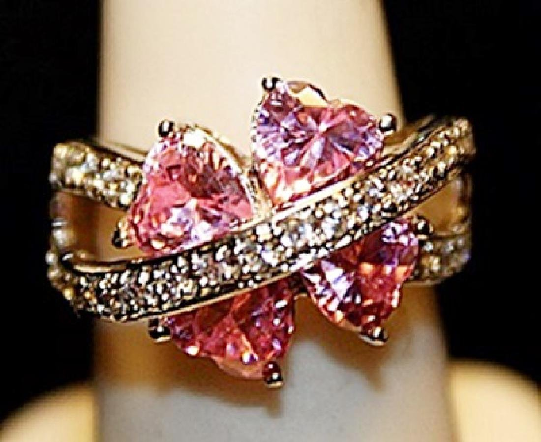 Gorgeous Pink Lab Sapphires & White Topaz SS Ring.