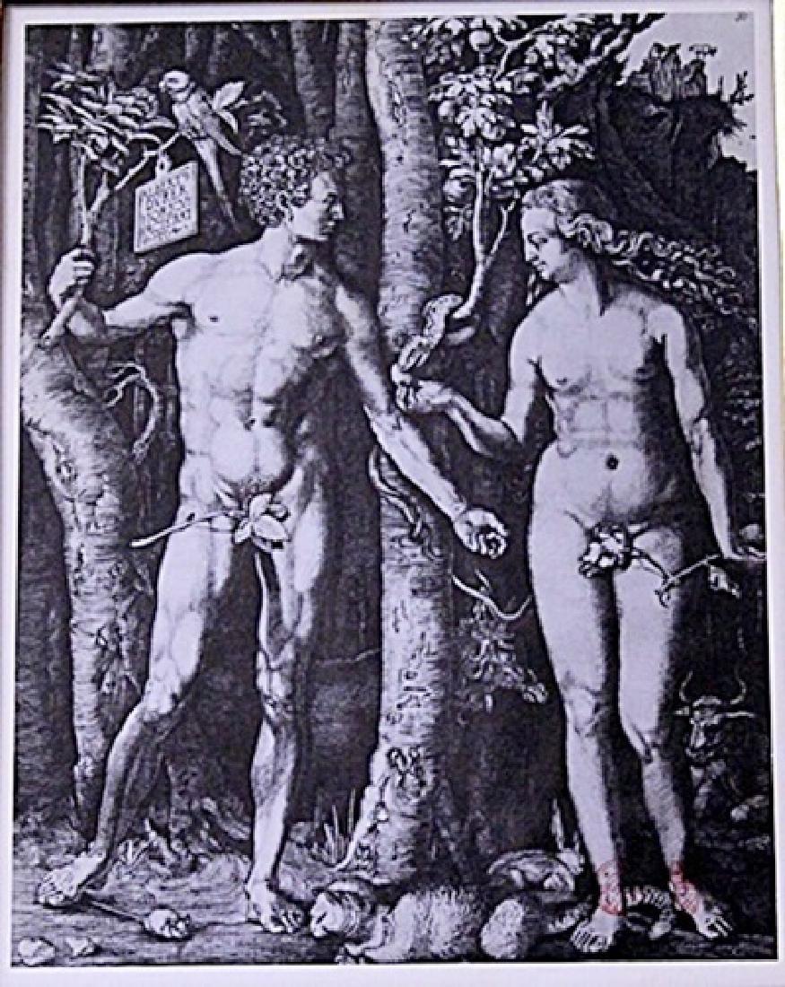 Framed Albrecht Dürer-Adam and Eve Engraving (16E-EK) - 2