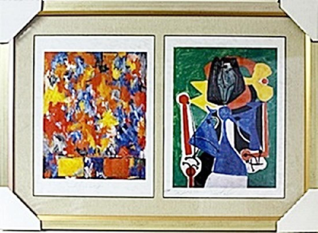 Framed 2-in-1  Jasper Johns and Picasso Lithographs