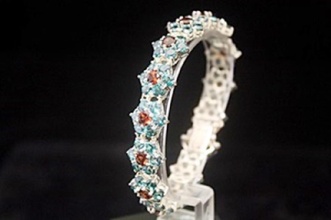 Fancy Garnet & Topaz Silver Bracelet