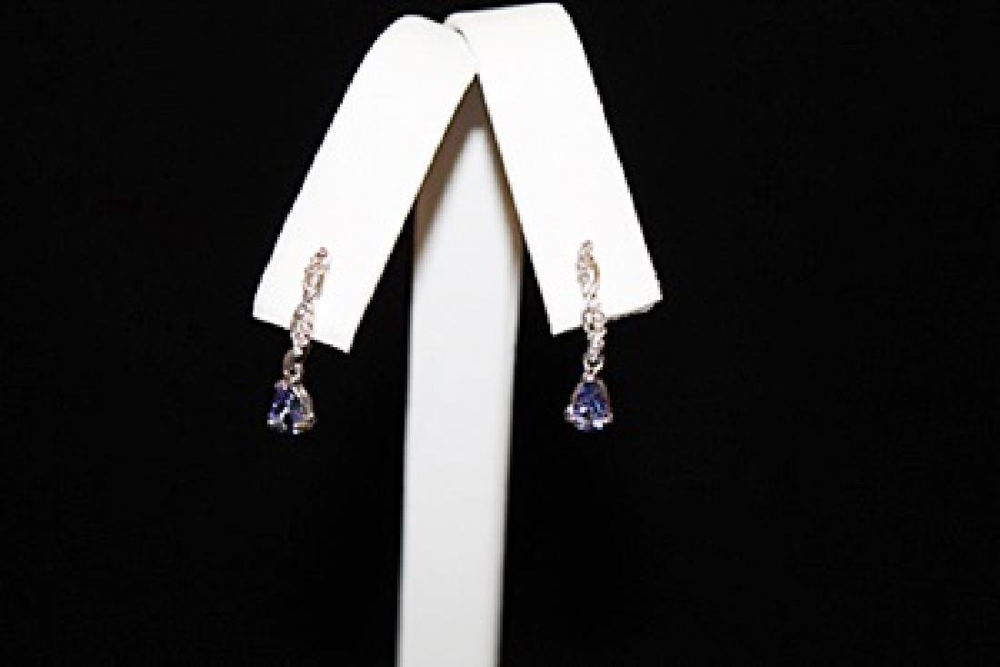 Fine Light Blue Gemstone Silver Earrings (56E)