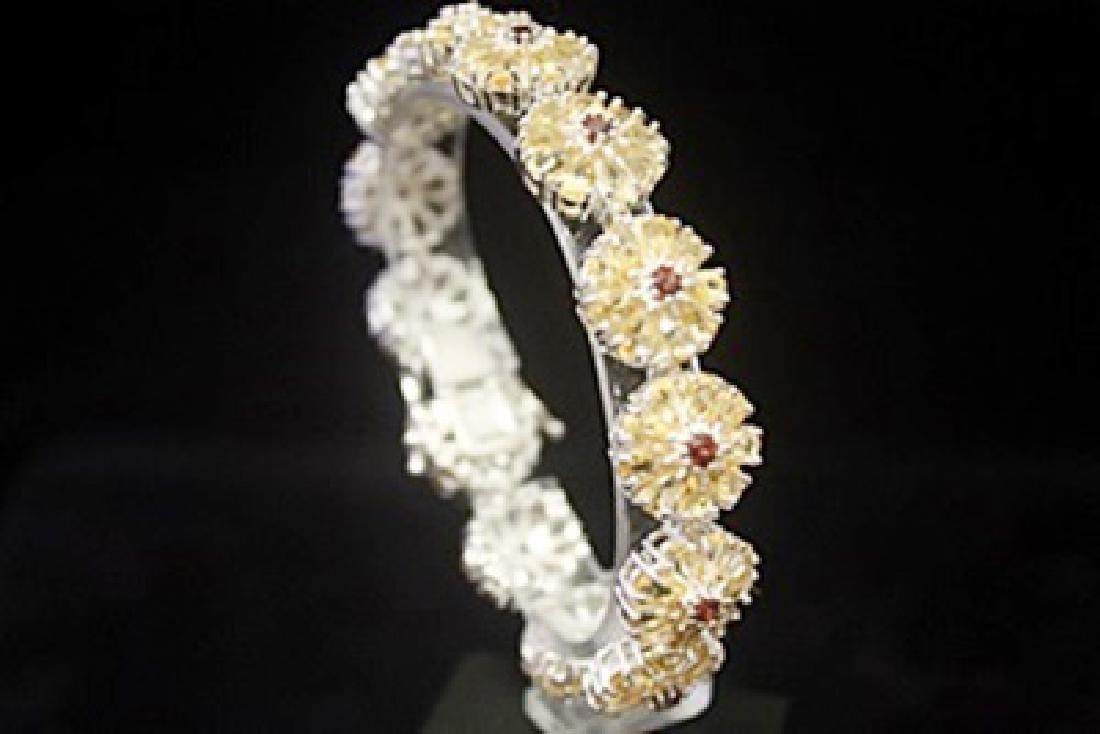 Fine Yellow Sapphire & Rhodolite Silver Bracelet