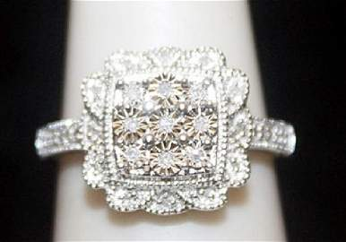 Very Fancy Silver Ring with Diamonds (104I)