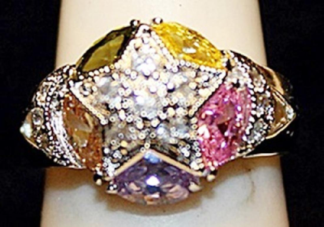 Beautiful Multi Colored Gemstones SS Ring. (521L)