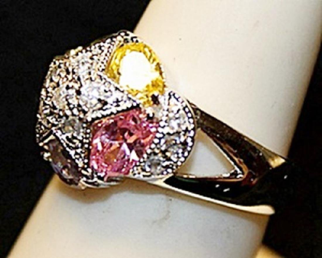Beautiful Multi Colored Gemstones SS Ring. (521L) - 2