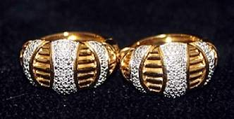 Lady's Fancy 14kt over Silver Earrings with Diamonds