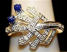 Fancy Sapphire with Diamonds Sterling Silver Ring.