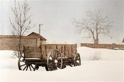 Winter Farm - Hal Olsen - Lithograph