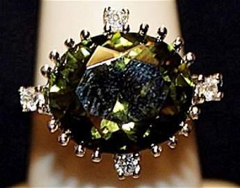Fancy Green Peridot & White Sapphires SS Ring. (532L)
