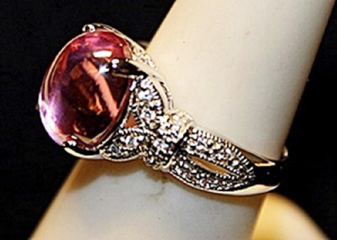 Gorgeous Pink Lav Sapphire & White Topaz SS Ring. - 2