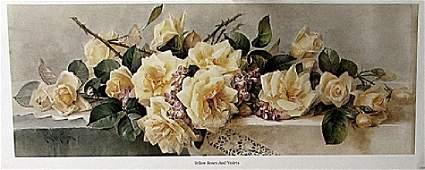 Yellow Roses and Violets - Paul De Sangpie - Lithograph
