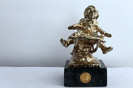 "18kt Gold over Bronze Sculpture ""New Snow"" after Dennis"