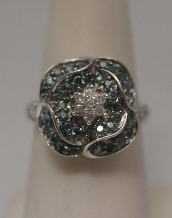 Beautiful Blue & White Diamonds Silver Ring (5R)