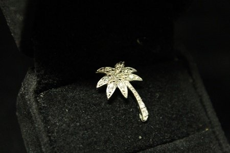 Fine Palm Tree Diamonds Silver Pendant (2D)