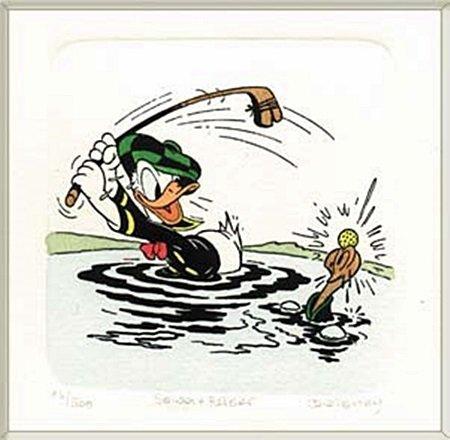 "Disney Licensed Original Etching ""Donald Duck Golfing"""
