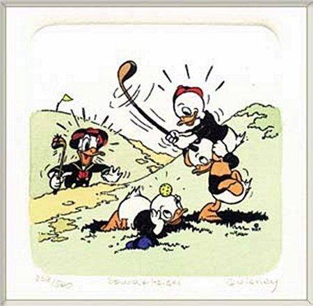 "Disney Licensed Original Etching ""Donald Duck Golfing &"